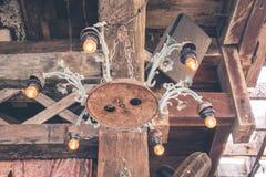Luxury beautiful retro vintage light lamp decor, restaurant of Bali island, Canggu, Indonesia. Royalty Free Stock Images