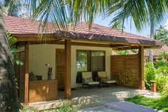 Luxury beautiful small house on the exotic beach located at the tropical island Royalty Free Stock Photography