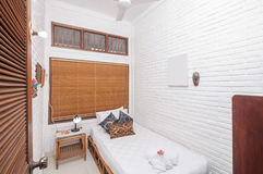 Luxury and Beautiful white color Bedroom Hotel Stock Photography