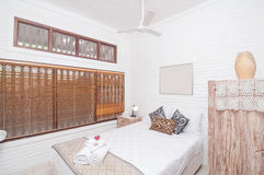 Luxury and Beautiful white color Bedroom Hotel Stock Image