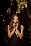 Luxury beautiful young woman in a mystical forest royalty free stock photos