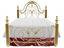 Luxury bed. 3d golden luxury bed on white background Royalty Free Stock Images