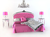 Luxury Bed. pink Bedroom Stock Photography