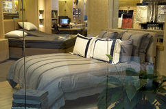 Luxury bedding mattress store. Nice bedding in a luxury store in Seattle Stock Image