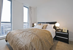 Luxury bedroom. Amazing modern bedroom detail with luxurious accessory stock images