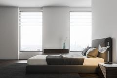 Luxury white bedroom interior, side view royalty free illustration