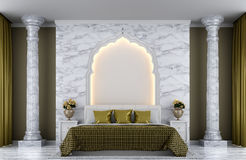 Luxury bedroom 3d rendering image. There are decorated with arches Indian Style, white marble and gold color Stock Photography