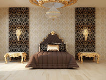 Luxury bedroom with golden furniture. In royal interior Royalty Free Stock Photography