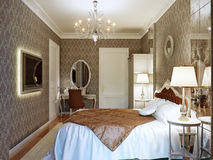 Luxury bedroom interior design in classic style with aged mirror Royalty Free Stock Images