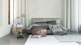 Luxury bedroom interior with grey decor Royalty Free Stock Photos