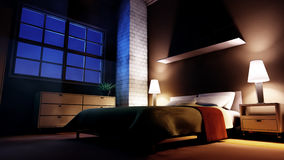 Luxury Bedroom In The Night Stock Photos