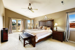 Luxury bedroom with walkout deck Stock Image