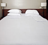 Luxury bedroom with white bedding. Have rest Stock Images