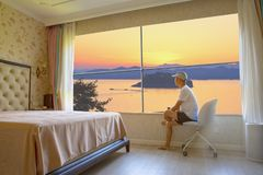 Free Luxury Bedroom With Great Lake View Stock Image - 157872841