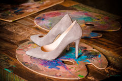 Luxury Beige Women`s Shoes With High Thin Heels. Royalty Free Stock Photo