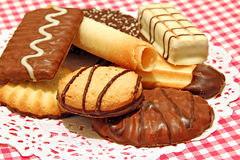 Luxury belgian chocolate biscuits Royalty Free Stock Photos