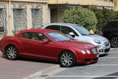 Luxury Bentley Continental GTC Badly Parked on the Sidewalk Royalty Free Stock Photo