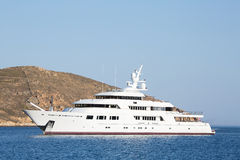 Luxury big mega motor yacht in the blue sea. Stock Images