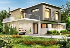 Luxury modern house and electric car. Luxury big modern house and electric car royalty free stock photos