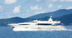 Luxury big motorboat or motor yacht in the sea. Stock Photos