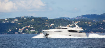 Luxury big motorboat or motor yacht in the sea. Royalty Free Stock Images