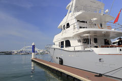 Luxury big yacht rear view Royalty Free Stock Photography