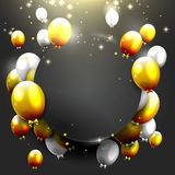 Luxury Birthday background. Luxury background with gold and silver balloons on black background Royalty Free Stock Photography