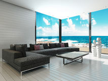 Luxury black couch in a maritime style living room with sea view vector illustration