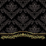 Luxury black damask Background with golden floral Border Royalty Free Stock Photo