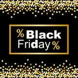 Luxury Black Friday background with gold glitter confetti frame for your decoration Royalty Free Stock Photos