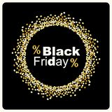Luxury Black Friday background with gold glitter confetti frame for your decoration Royalty Free Stock Images