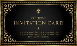 Luxury black and gold invitation card - vintage style Stock Photography