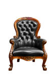 Luxury black leather armchair isolated Stock Image