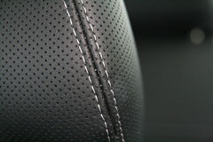 Luxury  black leather car seat Stock Photo
