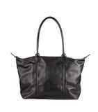 Luxury black leather holding female fashion hand bag isolated ba Stock Image