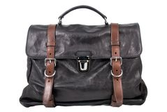 Luxury black leather male travel bag Stock Images