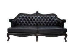 Luxury black leather sofa Stock Photos