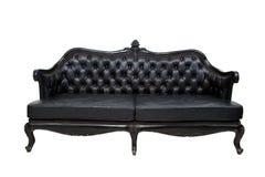 Luxury black leather sofa Stock Photos