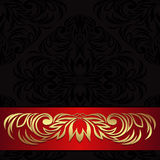 Luxury black ornamental Background decorated the red Ribbon Stock Images