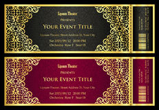Luxury black and red theater ticket with golden vintage pattern Stock Images