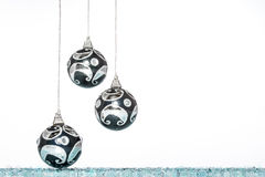 Luxury black with silver Christmas ball, hanging Decoration Stock Photos