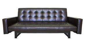 Luxury black sofa leather isolated white Stock Photo