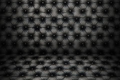 Luxury black sofa leather texture with buttons for pattern and b Stock Photos