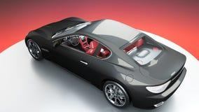 Luxury black sport car . realistic 3d rendering. royalty free illustration