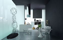 Luxury black and white living area interior Royalty Free Stock Image