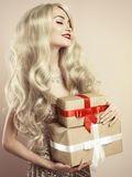 Luxury blonde with a Christmas gift Stock Photo