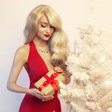 Luxury blonde with a Christmas gift Royalty Free Stock Photo