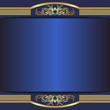Luxury blue Background with elegant golden Borders and Place for Text. Is presented Stock Photos