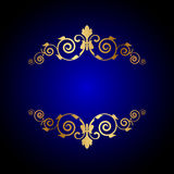 Luxury blue background with floral decoration Stock Image