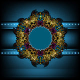 luxury blue background with shiny flower circle frame Stock Images